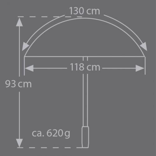 Brilliant Luxus Herren Stockschirm HM 56, 10-teilig, 100 % reine Seide schwarz, Metallstock, Rundhakengriff aus Elchleder