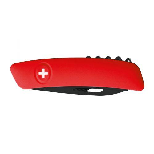 Swiza D03 All Black, Schweizer Taschenmesser, rote Griffschale