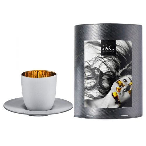 Eisch, Serie Cosmo Weiß, Espressotasse mit Untertasse 109/6, in Geschenkröhre