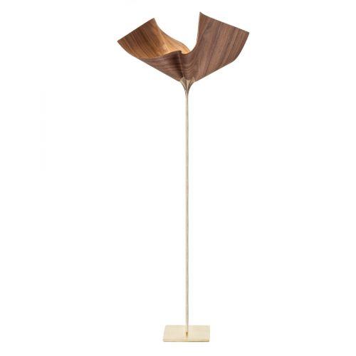 Cozi, Stehlampe klein, Modell 'Bloom Up Light', furnierte amerikanische Walnuss, 24 Karat vergoldet