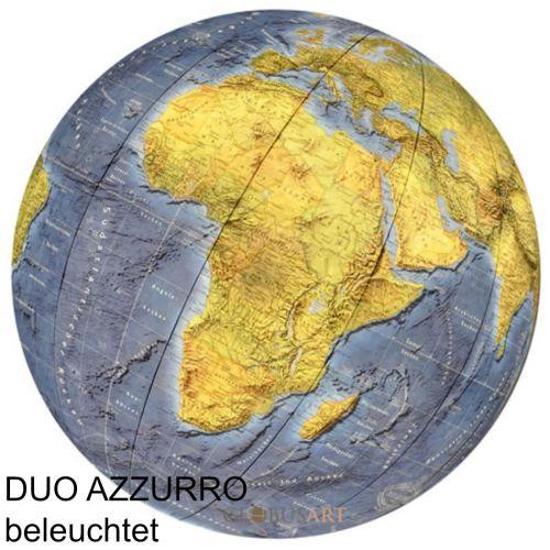 COLUMBUS DUO AZZURRO Tischglobus OID-Code, 34cm, Acryl- oder Kristallglas, handkaschiert, Meridian und Fuß Metall, Edelstahl, matt