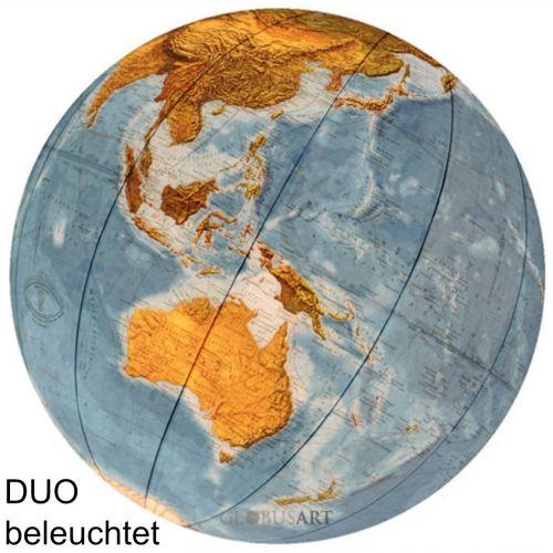 COLUMBUS DUO Standglobus OID-Code, 40cm, Kristallglas mundgeblasen, handkaschiert, Meridian Edelstahl, Fuß Wenge/Edelstahl