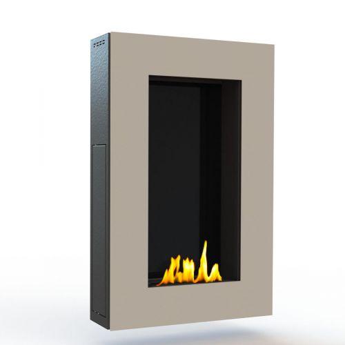 Glamm Fire, Wandkamin Bioethanol, Typ: Tango der Serie EVO Plus, Front cremefarben lackiert