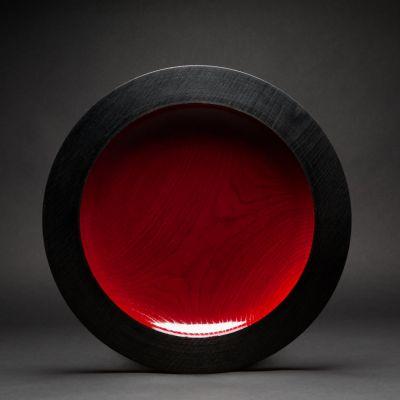 Elke Hirsch Woodenheart, Holzschale 'Tantum', Esche massiv, schwarz gebeizt, rot hochglanz lackiert