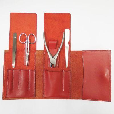 Suwada, Maniküre und Pediküre, hochwertiges Nagelpflegeset care4, Satin Oberfläche, in rotem Lederetui, handgearbeitet