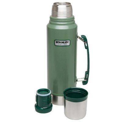 Stanley, Thermosflasche classic, Edelstahl, 1 Liter, Hammerschlag grün mit Tragegriff