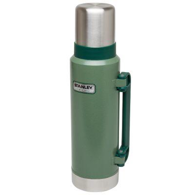 Stanley, Thermosflasche Classic, Edelstahl, 1,3 Liter, Hammerschlag grün mit Tragegriff