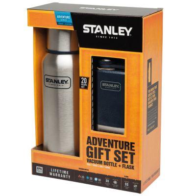 Stanley, Thermosflasche Adventure Geschenk Set, Edelstahl gebürstet, 0,739 Liter mit kleiner Taschenflasche 0,148 Liter