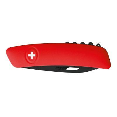 Swiza D01 All Black, Schweizer Taschenmesser, rote Griffschale