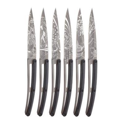Deejo Steakmesser 6er Set, Griffschale schwarzes Ebenholz, Muster Japanisch, anthrazitgraues Titanfinish