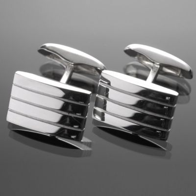 Grosse Jewels, Manschettenknöpfe 'Stripes', 925 Silber