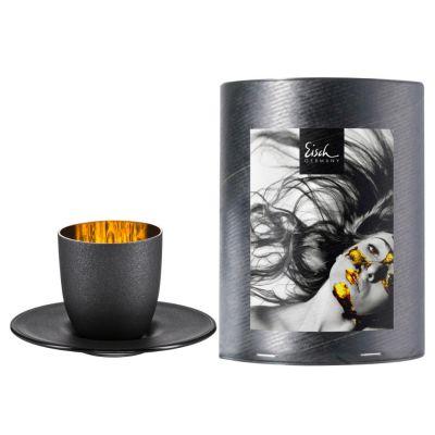 Eisch, Serie Cosmo Gold, Espressotasse mit Untertasse 109/6, in Geschenkröhre