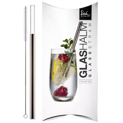 Eisch, Glas-Trinkhalm Platin, Serie 'Gentleman' mit Reinigungsbürste im Geschenkkarton
