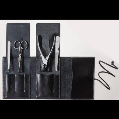 Suwada, Maniküre und Pediküre, hochwertiges Nagelpflegeset care4, hochglanzpolierte Oberfläche, in schwarzem Lederetui, handgearbeitet