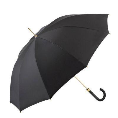 Brilliant Luxus Damenschirm DM 18, 10-teilig, hochwertiges europäisches Edelpolyester in schwarz, Griff aus Straußenleder in schwarz, Gestell vergoldet