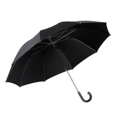 Brilliant Luxus Herren Stockschirm HM 58, 10-teilig, 100 % reine Seide schwarz, Metallstock, Rundhakengriff aus schwarzem Rind-Flechtleder