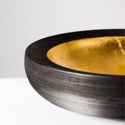 Elke Hirsch Woodenheart, Holzschale 'Aurum', Esche massiv, schwarz gebeizt, mit 24 Karat Blattgold vergoldet