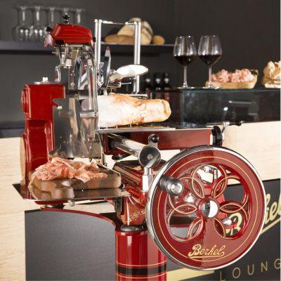 Berkel Aufschnittmaschine mit Schwungrad, Volano Tribute, Farbe rot