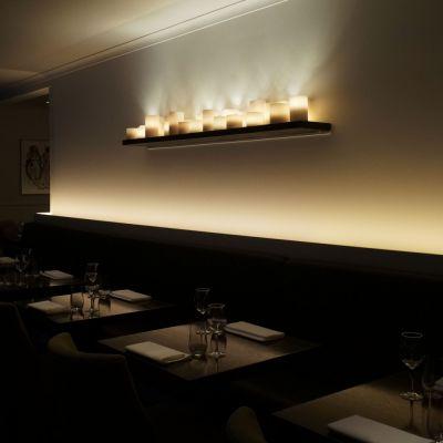 Authentage, Lampenserie 'Bellefeu', Wandlampe 'Plateau', 3 Breiten , Oberfläche bronze, verchromt oder weiß