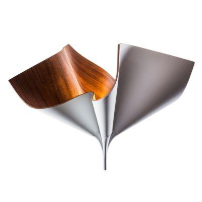 Cozi, Stehlampe groß, Modell #Bloom Up Light', amerikanisches Walnussfurnier, weiß
