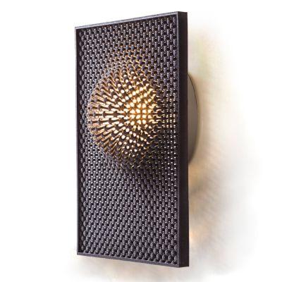 Cozi, Wandlampe, Modell 'Focus Wall Light - dark grey Rectangle', dunkelgraues 3D-gedrucktes Nylongewebe