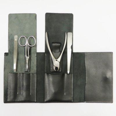 Suwada, Maniküre und Pediküre, hochwertiges Nagelpflegeset care4, Satin Oberfläche, in schwarzem Lederetui, handgearbeitet