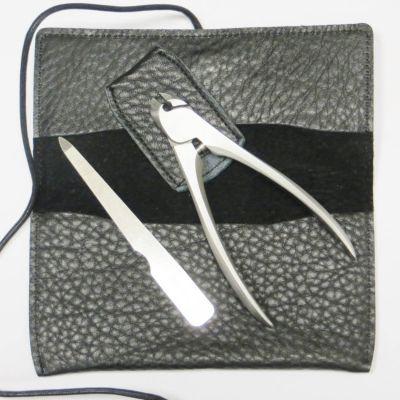 Suwada, Maniküre und Pediküre, hochwertiges Nagelpflegeset in schwarzer Ledertasche, handgearbeitet