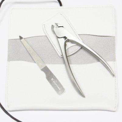 Suwada, Maniküre und Pediküre, hochwertiges Nagelpflegeset in weißer Ledertasche, handgearbeitet
