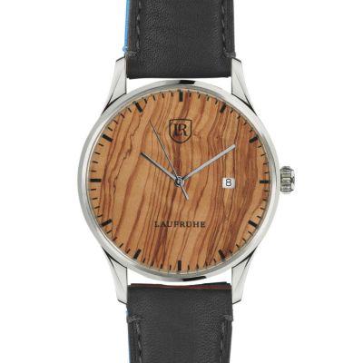 Laufruhe Automatik Herrenarmbanduhr, Modell Compositum, Gehäuse Edelstahl, Holz Olive, Armband Rindleder schwarz