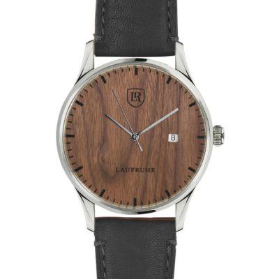 Laufruhe Automatik Herrenarmbanduhr, Modell Compositum, Gehäuse Edelstahl, Holz amerikanische Walnuss, Armband Rindleder schwarz
