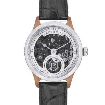 Laufruhe, Handaufzug Herrenarmbanduhr, 3/4 Skelett, Luxusmodell Nobilis, Gehäuse Olive / silber, Armband Krokodilleder schwarz