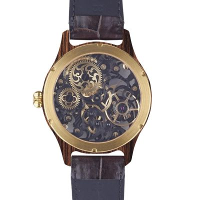 Laufruhe, Handaufzug Herrenarmbanduhr, Vollskelett, Luxusmodell Nobilis, Gehäuse Palisander / gelbgold, Armband Krokodilleder braun
