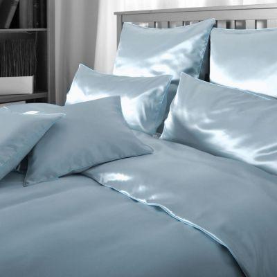 Plauener Seidenweberei, Spannbettlaken aus 100% Seide, Design 'Helios orient blue'