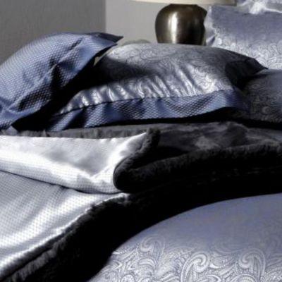 Plauener Seidenweberei, Spannbettlaken aus 100% Seide, Design 'Lou marine'
