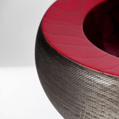 Elke Hirsch Woodenheart, Holzschale 'Maxime', Esche massiv, schwarz gebeizt, rot Hochglanz lackiert