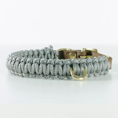Molly and Stitch, Hundehalsband 'touch of leather', Farbe grau, 6 Größen