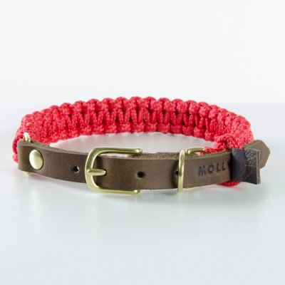 Molly and Stitch, Hundehalsband 'touch of leather', Farbe rot, 6 Größen