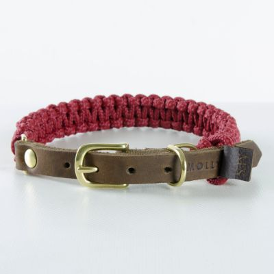Molly and Stitch, Hundehalsband 'touch of leather', Farbe bordeaux rot, 6 Größen
