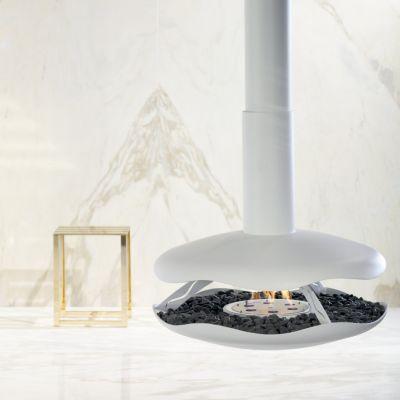 Glamm Fire, Hängekamin Bioethanol, Typ: PEROLA der Premiumserie, weiß lackiert