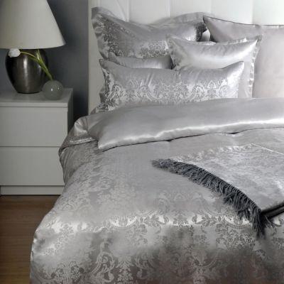 Plauener Seidenweberei, Spannbettlaken aus 100% Seide, Design 'Portofino ash'