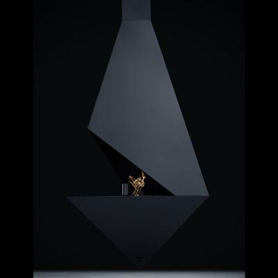 Glamm Fire, Hängekamin Bioethanol, Typ: PYTHAGORAS der Premiumserie, schwarz lackiert