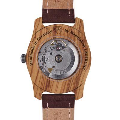 Laufruhe Automatik Herrenarmbanduhr, Modell Unique, Holz-Gehäuse Olivenholz, Armband Rindleder braun