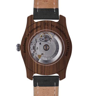 Laufruhe Automatik Herrenarmbanduhr, Modell Unique, Holz-Gehäuse amerikanische Walnuss, Armband Rindleder schwarz