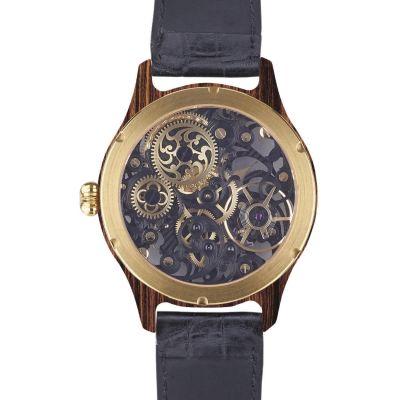 Laufruhe, Handaufzug Herrenarmbanduhr, Vollskelett, Luxusmodell Nobilis, Gehäuse Palisander / gelbgold, Armband Krokodilleder schwarz