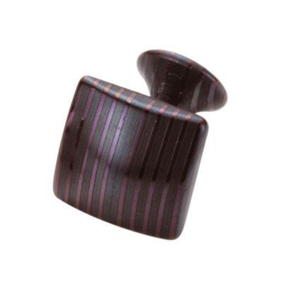 Suwada, Manschettenknopf quadratisch, Damaszenerstahl, schwarz, runder Boden