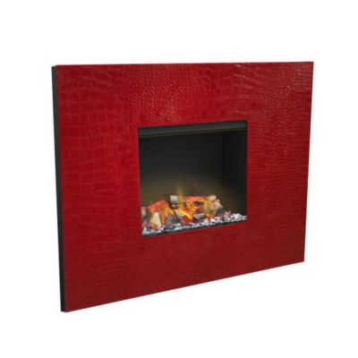Glamm Fire, elektrischer Wandkamin , Typ: Senses 3D, Lederfront in rot