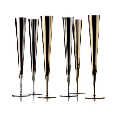 Zieher, Champagnerflöte 'Vaganza', gold- oder platinfarben, 2er-Set