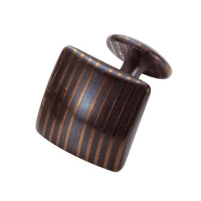 Suwada, Manschettenknopf quadratisch, Damaszenerstahl, schwarz, flacher Boden
