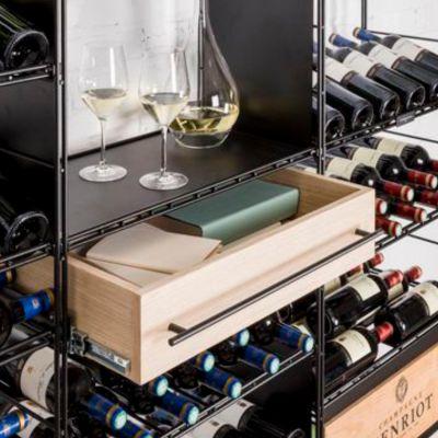 L'Atelier du Vin, Schublade für Regalsystem, Vollauszug, 60 cm Breite, Eiche furniert