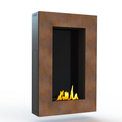 Glamm Fire, Wandkamin Bioethanol, Typ: Tango der Serie EVO Plus, Front Cortonstahl Rostoptik